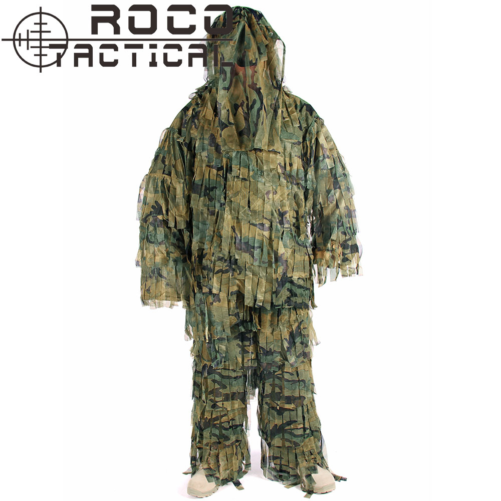 ROCOTACTICAL Respirant Léger Camouflage Sniper Ghillie Costume Sniper Airsoft Paintball Militaire Camouflage Costume Woodland