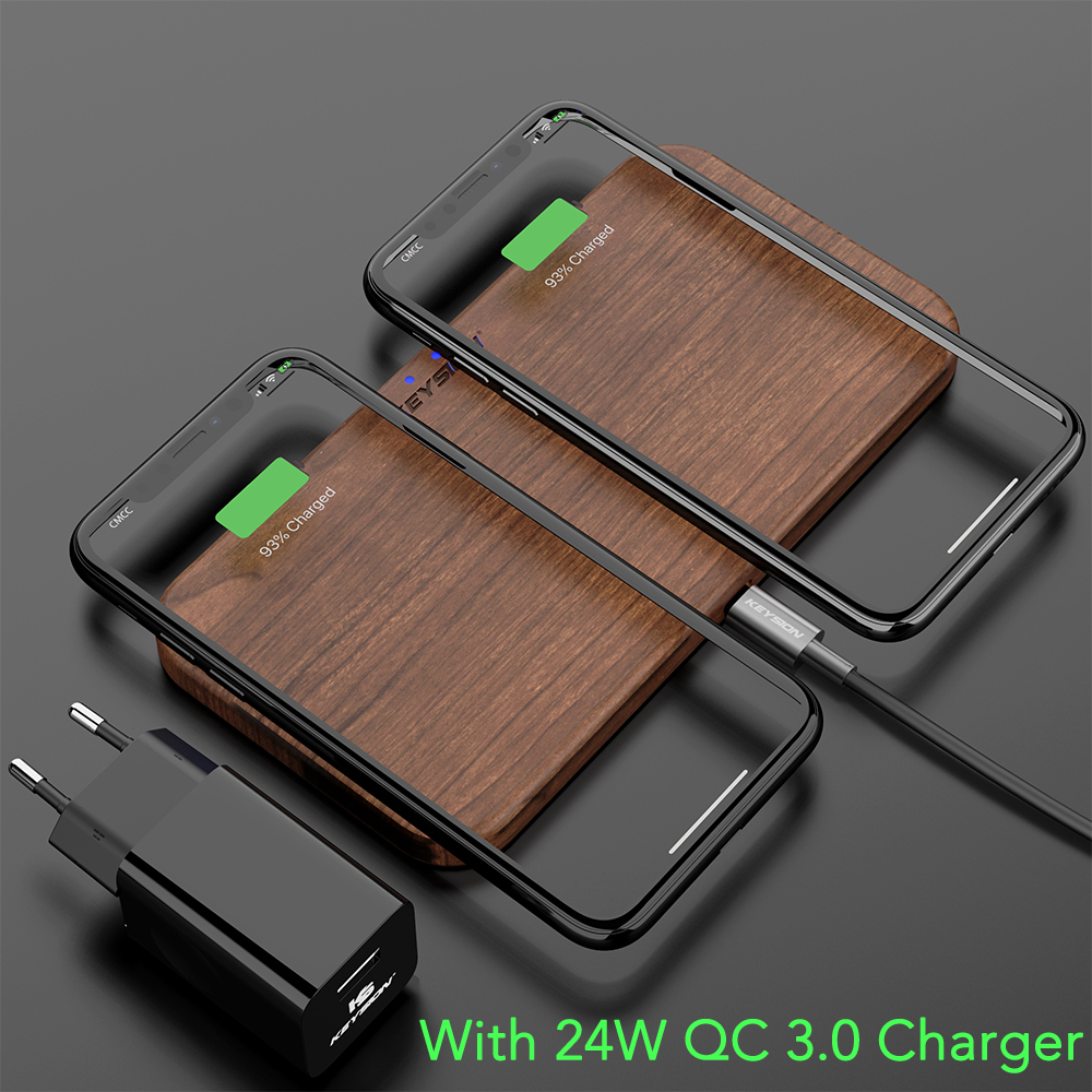 Image 3 - KEYSION 5 Coils Dual QI Fast Wireless Charger Stand/Pad convertible Charging for iPhone 11 XS Max XR Samsung Note 10 S10 AirPods-in Wireless Chargers from Cellphones & Telecommunications