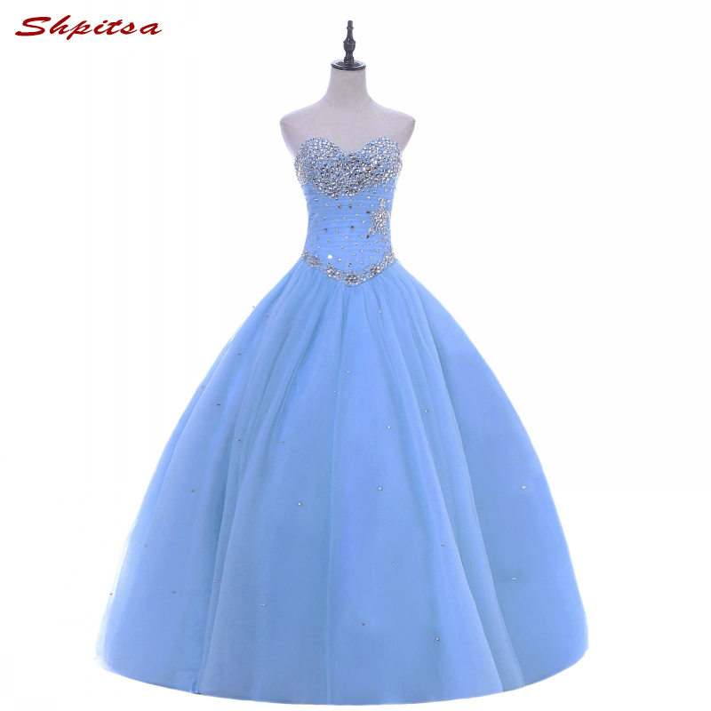 Luce Cielo Blu Principessa Abiti Quinceanera Ball Gown Perline Ragazze Masquerade Dolce 16 Abiti Ball Gown abiti da 15 anos