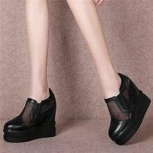 Купить с кэшбэком NAYIDUYUN    Casual Shoes Women Black Cow Leather Breathable Lace Wedges Pumps Super High Heel Summer Creepers Platform Oxfords