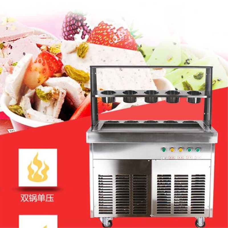 2017 Newest CE fried ice cream roll machine ,10 buckets  Fried ice pan machine,double/single pan ice pan machine with LED light ce fried ice cream roll machine fried ice pan machine one pan with 6 buckets fry ice machine r22 r404a r401a accept cunstomize