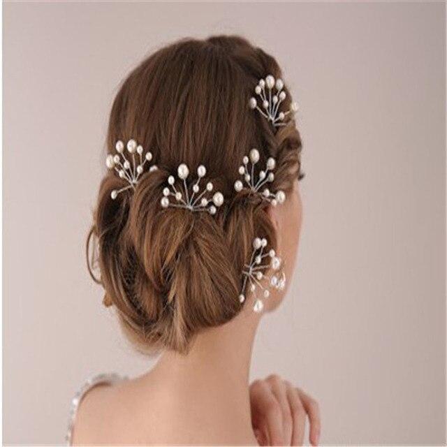 6 Pieces De Cheveux De Mariee Clip Bandeau Perle Fleur Rouge Batons
