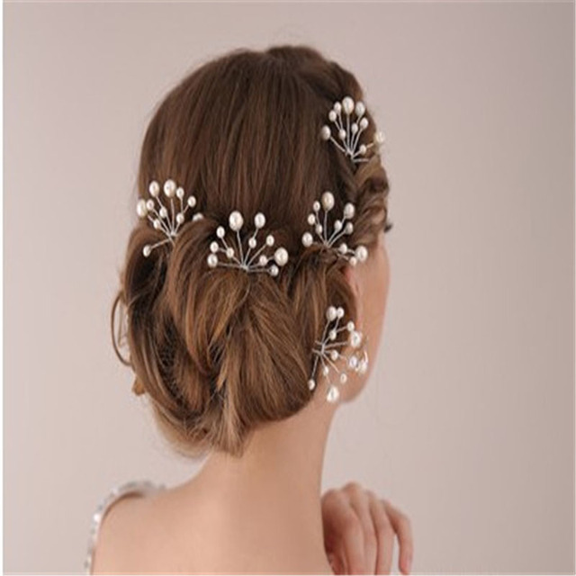 45beddeddbee5 6 Pieces Bride Hair Clip Hairband Pearl Flower Red Sticks for hair tocados  para boda wedding decoration accessories for hair