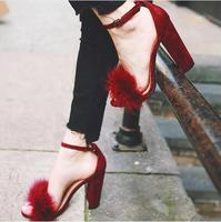 Summer Women Wine Red Suede Thick Heel Sandals Cute Fur Embellished Dress Shoes Ankle Strap Chunky Heel Wedding Shoes