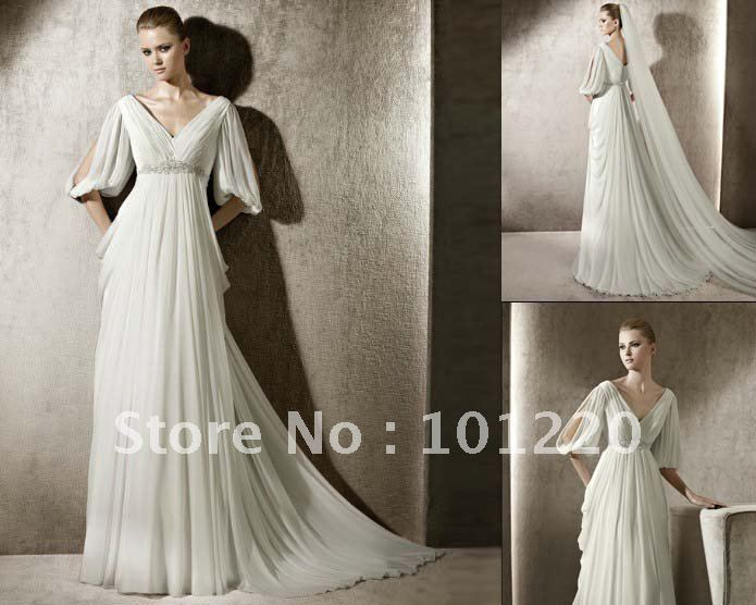 A Line Wedding Gown With Sleeves: Free Shipping Silk Chiffon Wedding Gown V Neck Half