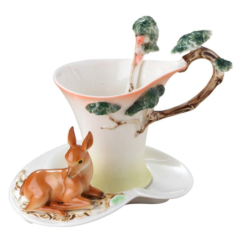 2018 Deer Coffee Cups With Saucer Tea Milk Cup Set with spoon Creative Ceramic Drinkware European