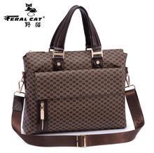 FERAL CAT Brands Men Business Shoulder Bags Fashion Leather Bags Famous Brands Men Casual Handy Top Quality Handbag New FC-8801#