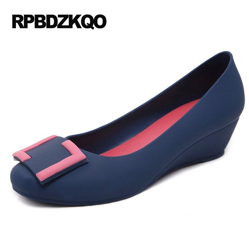 Sweet Pvc Wedge Women Blue High Heels Closed Korean Round Toe 2017 Medium Ladies Mid Shoes Purple Black Pumps Jelly Waterproof