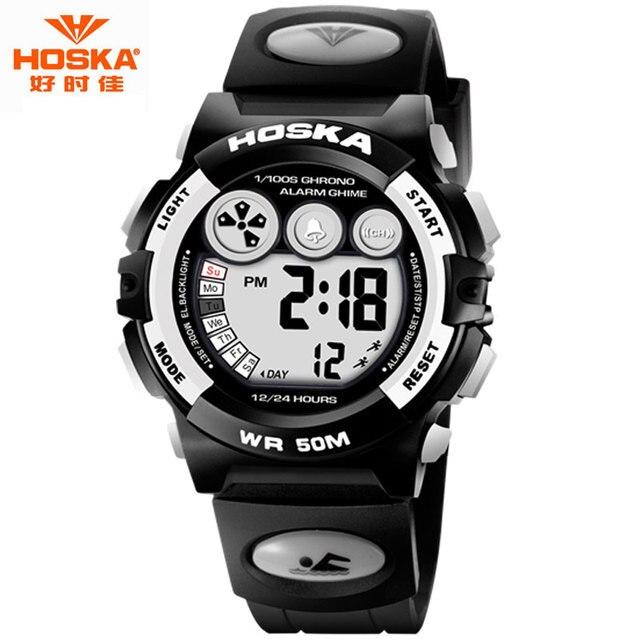 Женщины Смотреть Luxury Brand HOSKA Фитнес Оригинальный Аккумулятор Datejust День Показать Резинкой Противоударный Цифровые Часы Детей H002