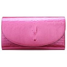 2016 prominente Echtem Leder Pink Alligator Muster Frauen Clutch Shoulder Messenger Dame Taschen Ketten Umschlag Abendtasche