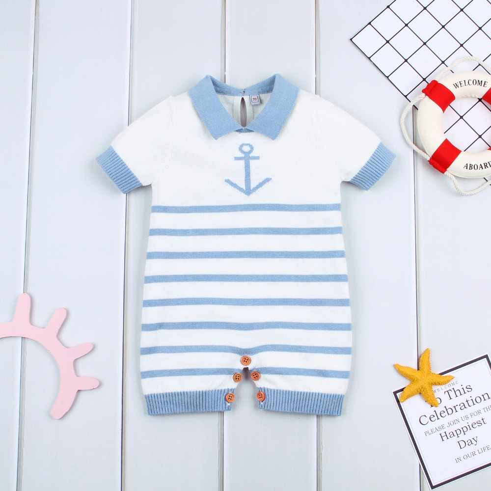 Baby Rompers Summer Cotton Knit Newborn Toddler Girls Sunsuit Clothes Blue Stripes Infant Boys Jumpsuits Kids One Piece Overalls