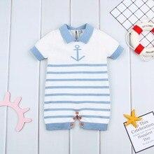 dc36414440a8 Toddler Girls Rompers Summer Cotton Knit Newborn Baby Sunsuit Clothes Blue  Stripes Infant Boys Jumpsuits Kids