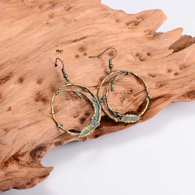 2018 Newest Big Round Drop Earrings For Women Geometric Bronze Branch Design Fashion Earring Female Boho Indian Jewelry