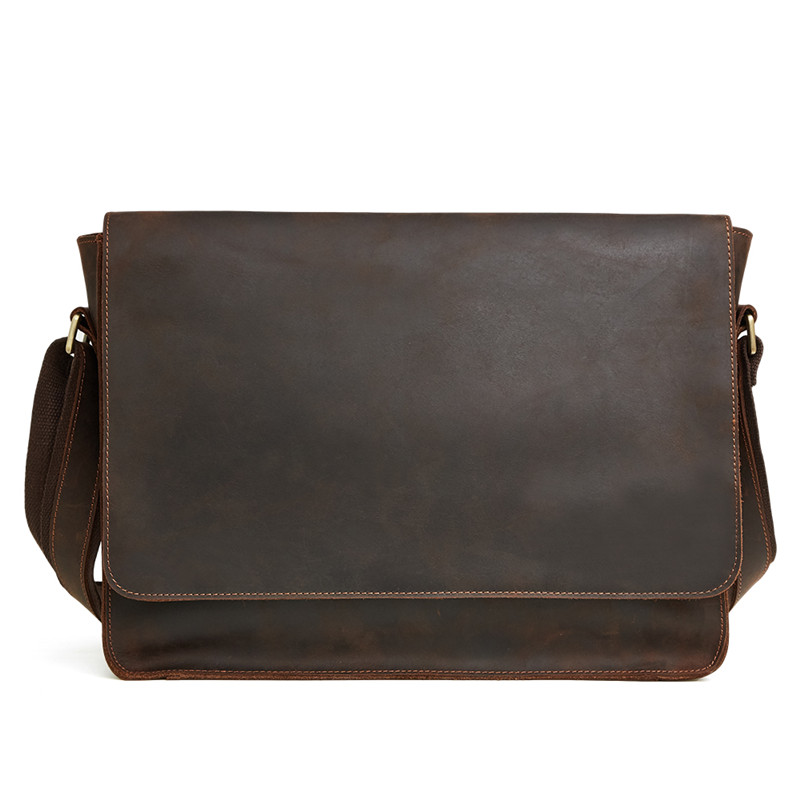 Nesitu Good Quality Vintage Brown Thick Durable Cow Leather Real Skin Genuine Crazy Horse Leather Men Messenger Bags M6322