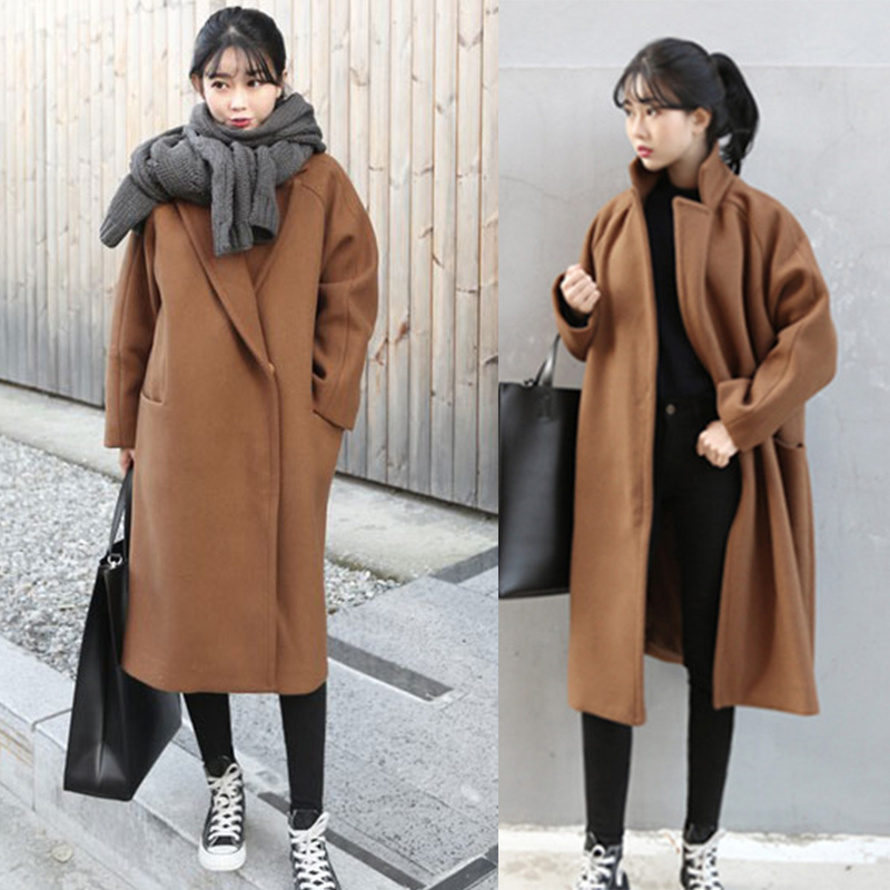 Laine Nouvelle Cocon Couleur Manteau Revers Long Qualité De Foncé Type Europe Haute A154 Femmes 2016 À Bouton Camel Veste black Pur Paragraphe tXwffaqF
