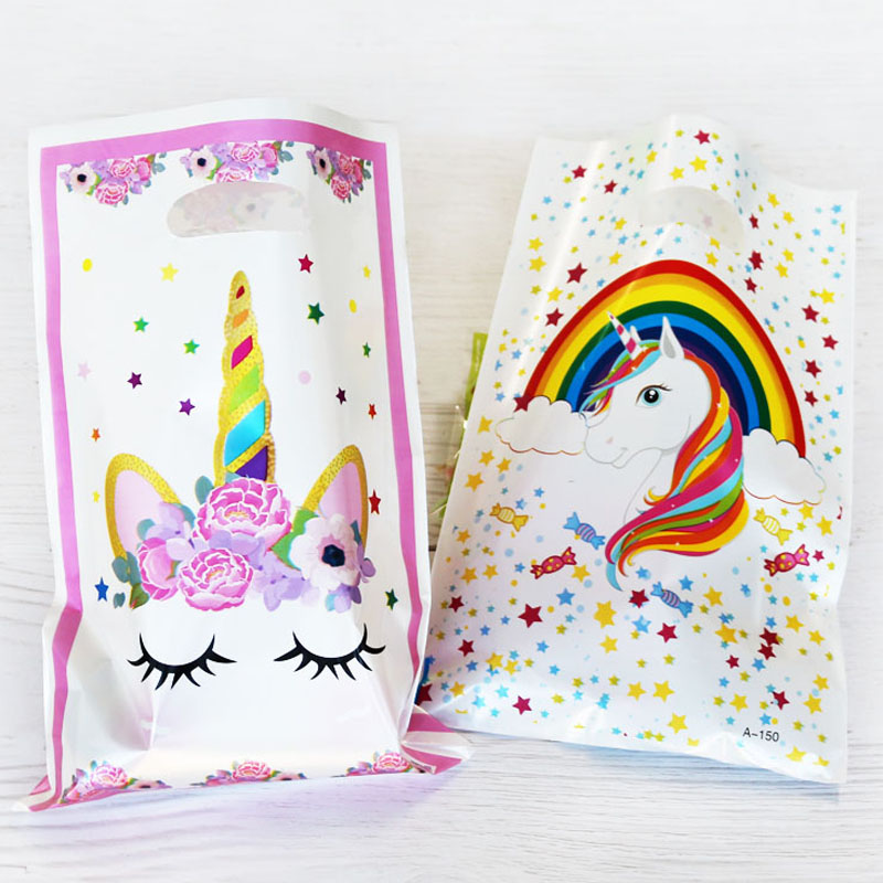 20pcs Gift Bags Loot Bags Rainbow Stars Unicorn Plastic Bags Kids Birthday Party Supply Event Party  Decoration Set Candy Bags