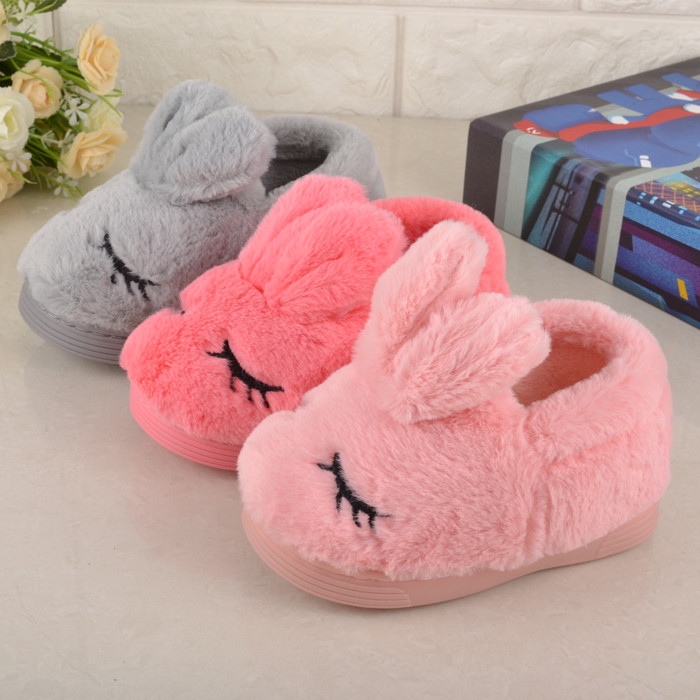 ChildrenS Cotton Shoes Home Indoor Slippers Kids Baby Girl Cute Squint Rabbit Ears Cartoon Shoes Boys Winter Plush Warm Shoes