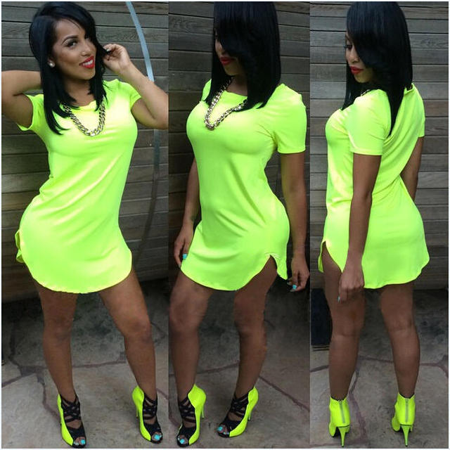 d7a07f3450d69 Wholesale 2018 Women t shirt Dress Summer Sexy neon green tshirt Side Split  Dress Tee Club Party Longline White Yellow dresses