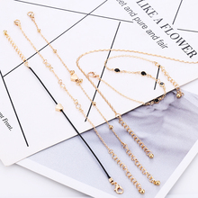 L&H 5PCS/Set Gold Color Anklets For Women New Summer Female Fashion Ankle Bracelets Black Thin Rope Heart Shape Chain 2019
