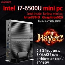 Безвентиляторный Intel I7 6500U Mini PC Windows 10 Настольный Компьютер КНУ Pocket PC barebone системы Неттоп Skylake HD520 Графика 300 М wi-fi