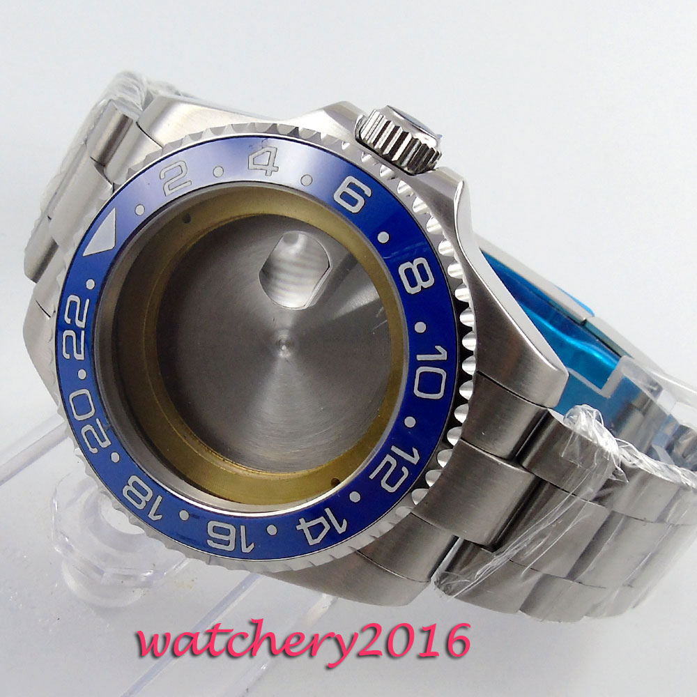 43mm sapphire glass blue ceramic bezel Watch Case fit ETA 2824 2836 Movement цена и фото