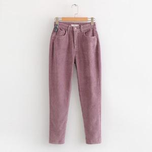Image 3 - Vintage Macaron color Corduroy Pants Autumn Woman Mid Waist Ankle Length Loose Harem Pants Trousers Femme Casual Long Pants