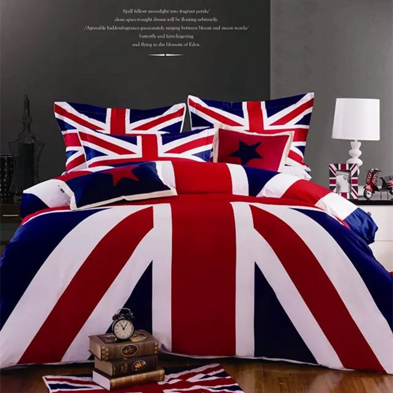 American And British Flag Bedding Set Cotton 4pcs Union Jack Duvet Cover Queen King Us Uk Bedclothes Bed Linen Textile In Sets From Home