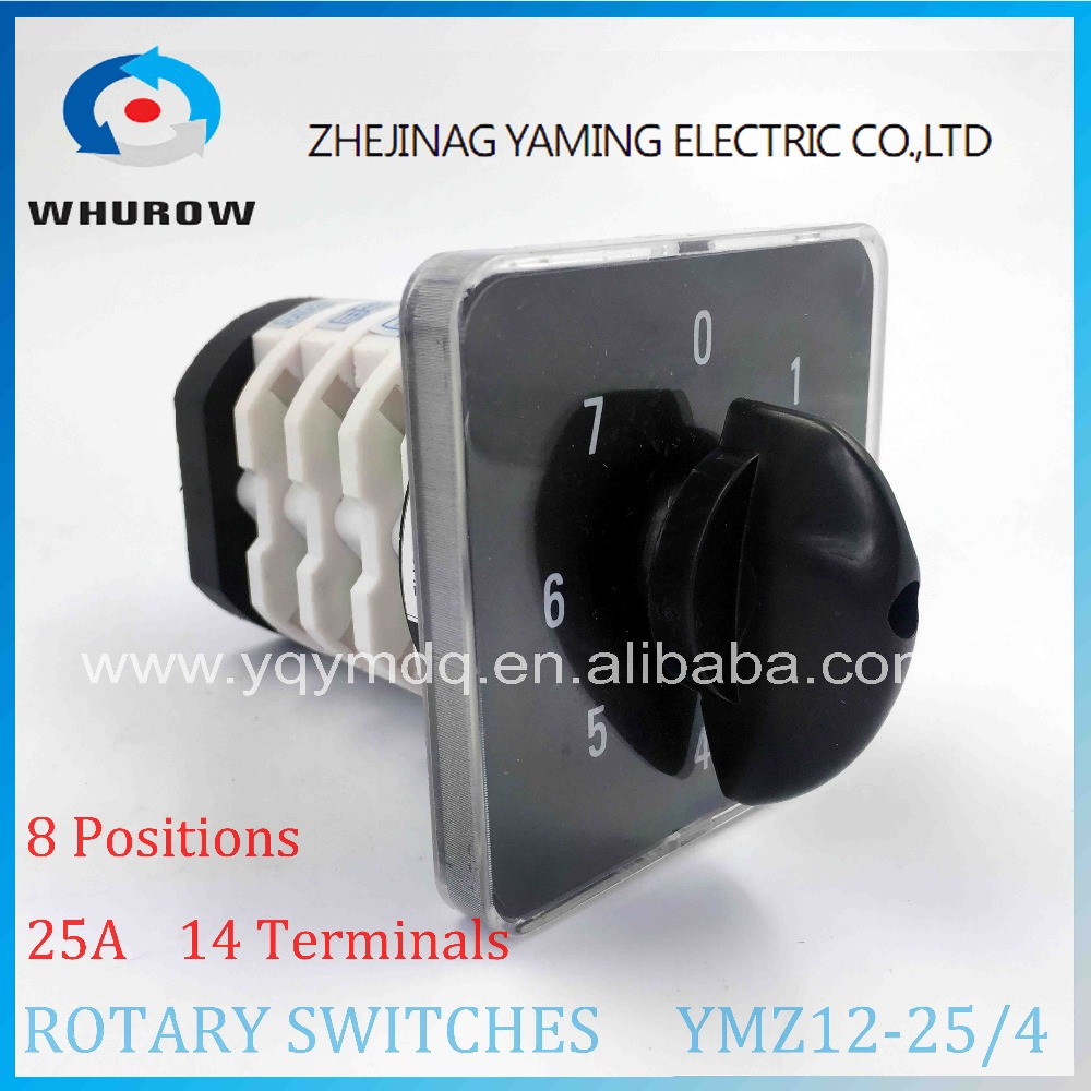 Rotary switch YMZ12-25/4 changeover cam combination switch 4 poles 8 positions 14 terminals 25A Ui 690V sliver point contacts load circuit breaker switch ac ui 660v ith 100a on off 3 poles 3 phases 3no 2 position universal rotary cam changeover switch