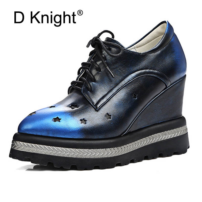 Vintage Pointed Toe Lace Up Platform Wedge Shoes For Women Fashion Star Cut-outs High Heels Women Wedges Ladies Elegant Pumps ladies casual platform wedges oxford shoes for women metallic pu cut outs women high heels summer brogue oxfords shoes woman