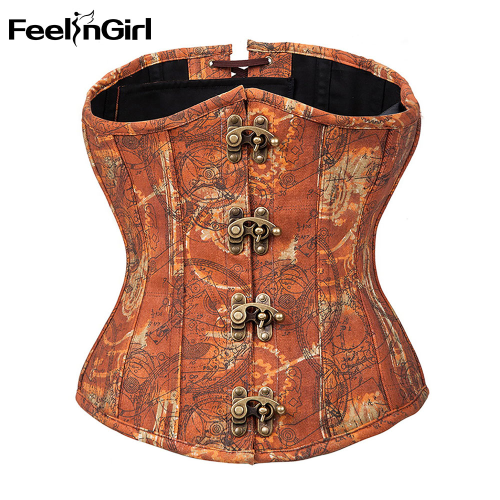 FeelinGirl New Steampunk Steel Boned Lace up Back Body   Bustier   Overbust   Corset   Women Waist Cincher Sexy   Corsets   Plus Size-E