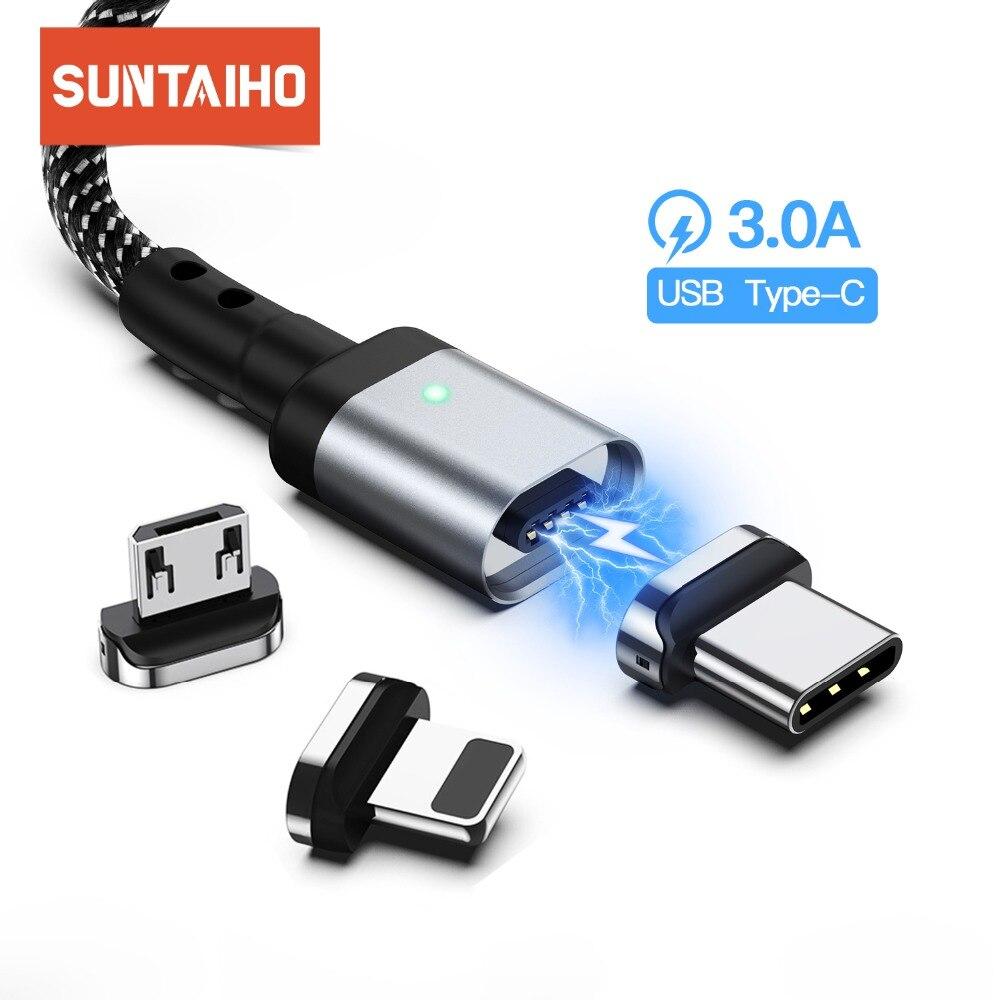 Suntaiho câble magnétique Micro USB Type C pour iphone aimant chargeur données charge rapide type-c USB C pour iphone Samsung xiaomi mi9
