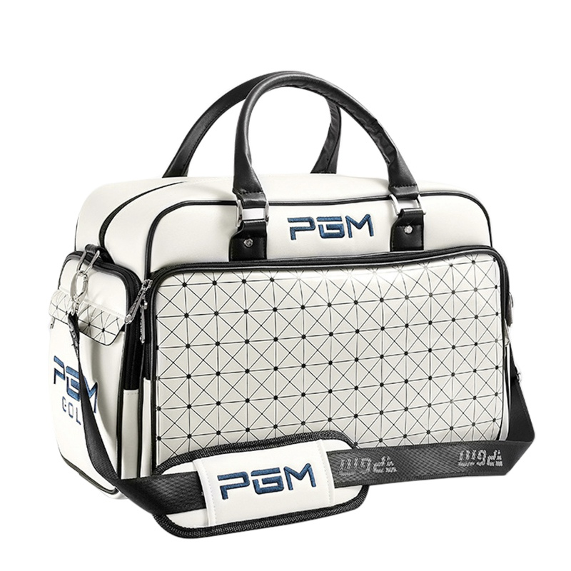 PGM Brand Golf Clothes Bag PU Leather Waterproof Large Capacity Independent Shoes Bag Sports Handbags 48x30cm pgm new golf clothing travel bag manmgolf shoes bag package soft pu ball bag large capacity clothes bag black woman