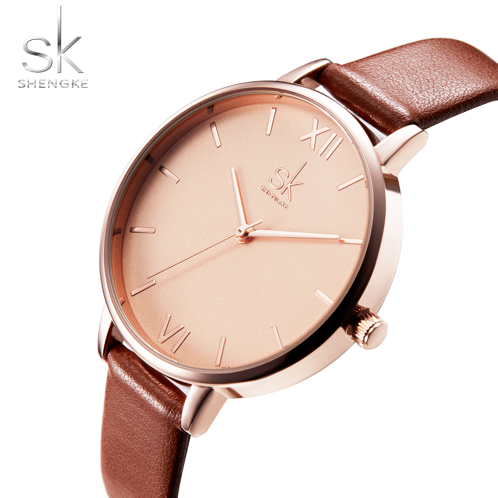 New Brand SK Clock Women Leather Band Waterproof Ladies Fashion Casual Watch Quartz Dress Watches Relogio Feminino Shengke misscycy lz the 2016 new fashion brand top quality rhinestone men s steel band watch quartz women dress watch relogio feminino
