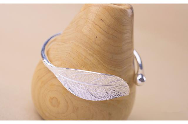 Sterling Silver Leaf Charm Bangle