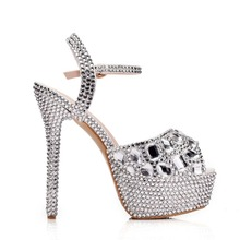Rhinestone Sandals Wedding Shoes Women Extreme High Heels Shoes Silver Pumps