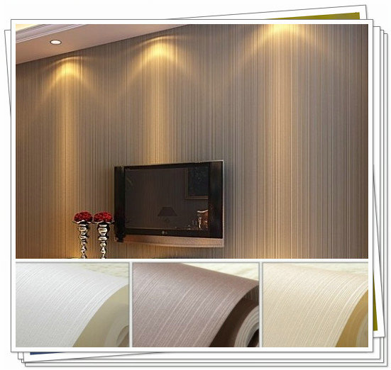 Simple Plain Classic Textured Solid Stripe Non Woven Home Decor Wallpaper Roll For Walls Bedroom