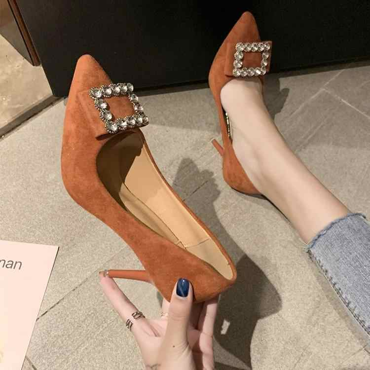 Blue Orange Black Beige Suede Women High Heels Shoes Pointed Toe Luxury Crystal Square Buckle Female Stilettos Lady Pumps Brand