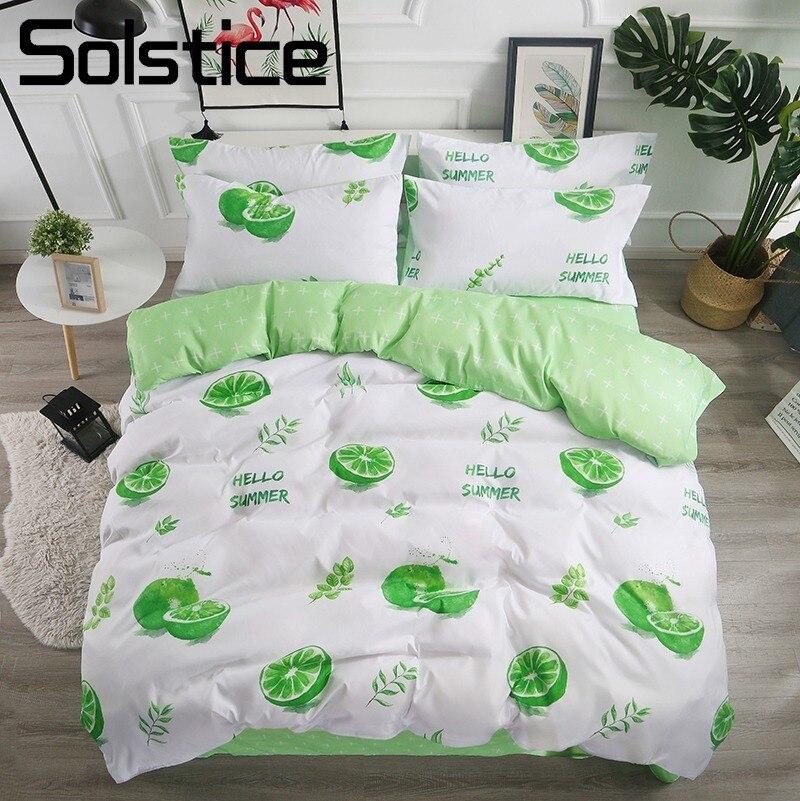 Solstice Home Textile Green Lemon Summer Bedding Sets Girl Kid Teen Linens King Queen Twin Duvet Cover Pillowcase Bed Sheet Suit
