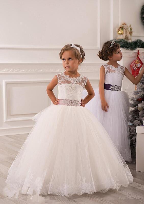 Spring   Flower     Girl     Dresses   Vintage Jewel Sash Lace Net Birthday Party Christmas Princess   Flower     Girl     Dress