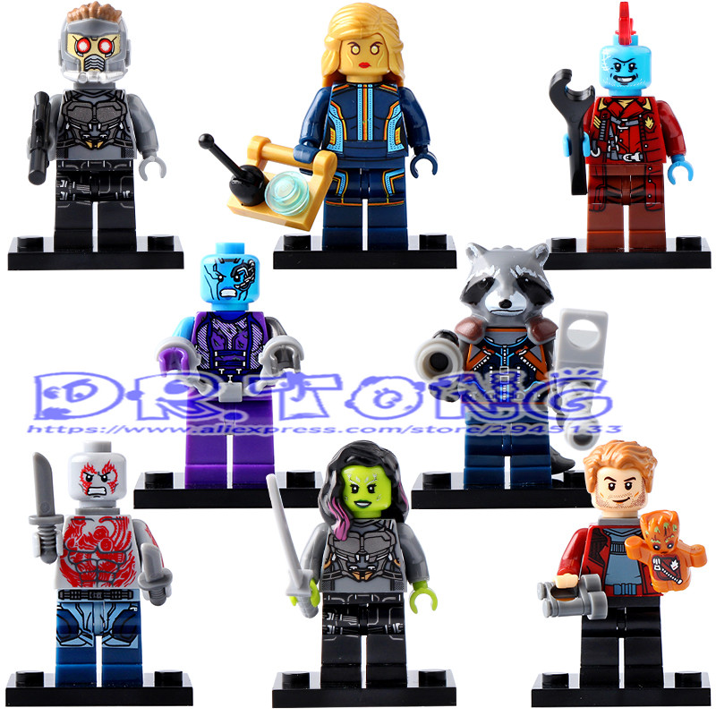 DR.TONG New Guardians of the Galaxy Star-Lord Nebula Yondu Drax the Destryer Rocket Racoon Building Blocks Toys Child Gift X0159