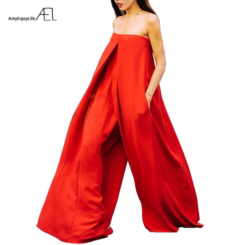AEL rouge Super ample combinaison femmes bateau cou sans manches été Long combinaison 2018 Street Wear à la mode large jambe combinaison