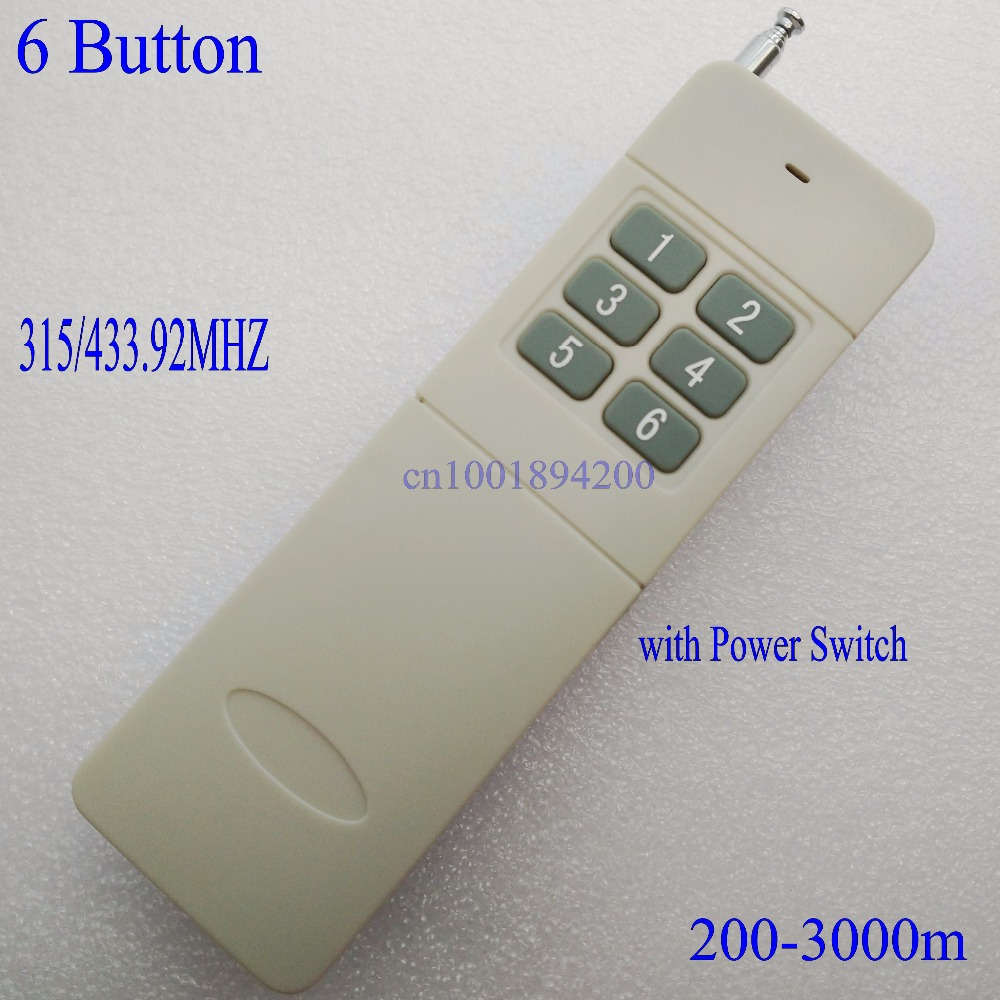 Long range 3000m rf remote control Long Distance transmitter 6 CH Button TX 315/433.92MHZ Big Button Wireless Remote Control улиточный крем для кожи вокруг глаз tony moly timeless ferment snail eye cream