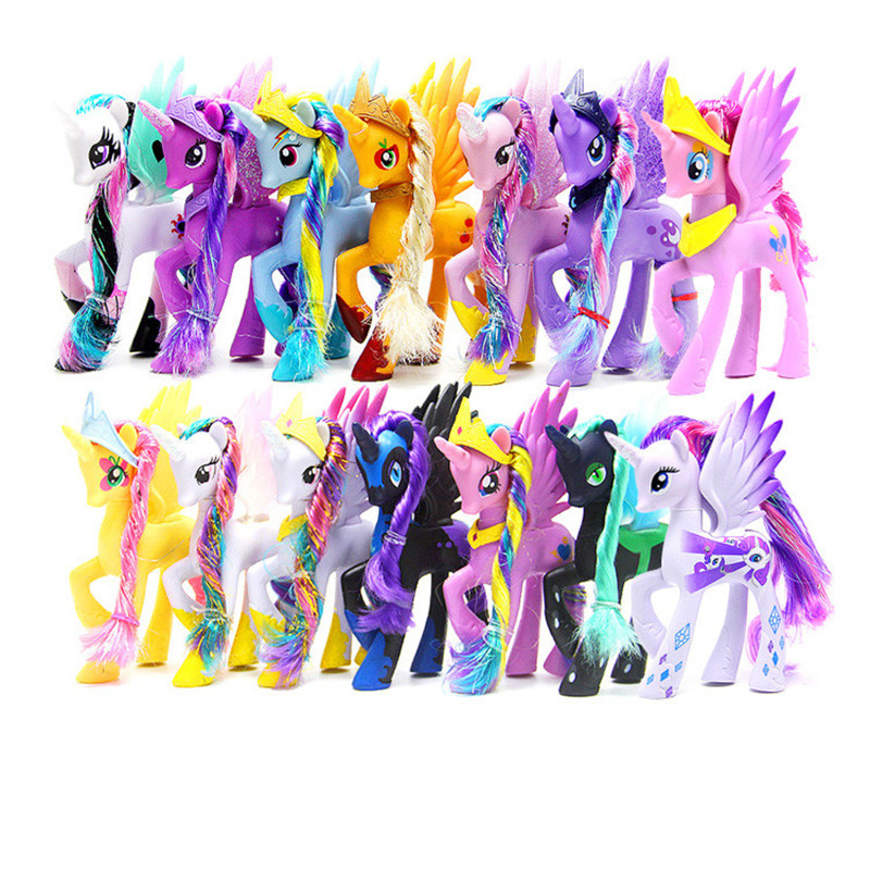14CM High Unicorn Doll Pets Horse PVC Action Toy Figures Christmas Little Gift 14cm pony toys horse unicorn pet in action figure colorful different styles doll kids toy model pvc doll for girls gift