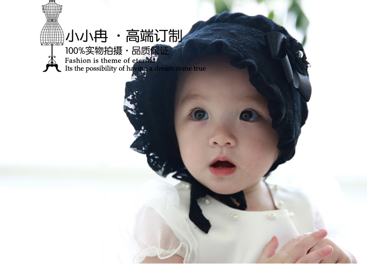9b8a1b216e35a Baby Girls Bonnets Patterns Spring Summer Hats Caps Baby s White Pink Black  Bonnets Bonnet BABY EASTER BONNETS FOR BABIES