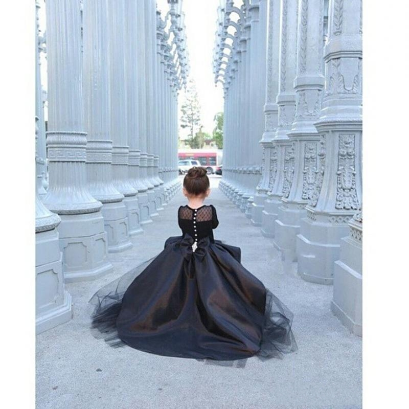 e206522a 2016 bola negro vestido de manga larga vestidos niña para la boda bebé arco  alto bajo fiesta de cumpleaños vestido de los niños en Vestidos de flores  de ...