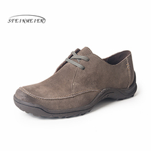 100% Genuine cow suede leather brogue men flats shoes handmade vintage casual sneakers shoes oxford shoes for men grey