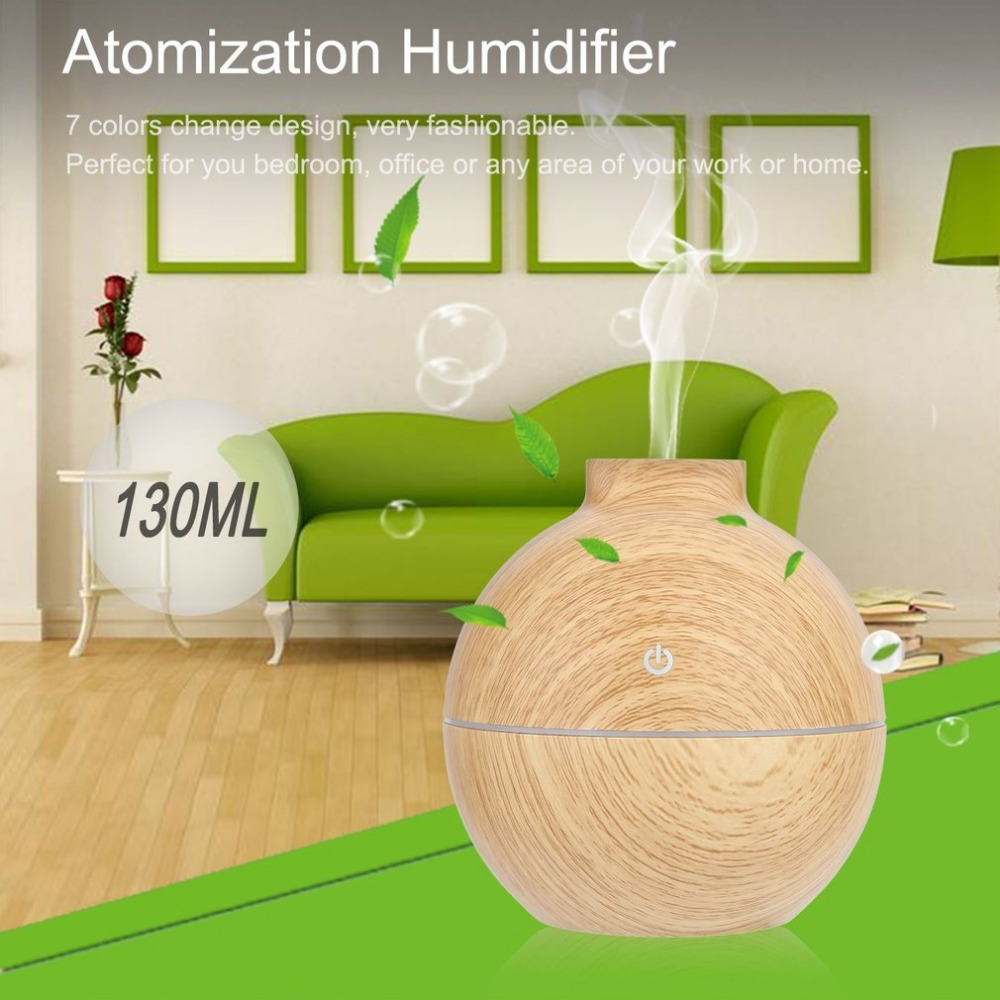 130ML Car Air Humidifier Wood Essential Oil Diffuser Aroma Lamp Aromatherapy LED Light Electric Aroma Diffuser Mist Maker