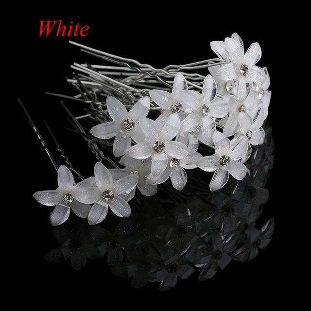 20pcs/lot Flower Crystal Rhinestone Hairpins Hair Clips Women Wedding Bridal Jewelry Bride Headdress Hair Accessories