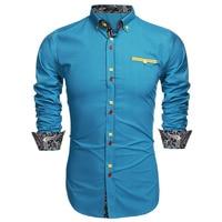 COOFANDY Men Leisure Shirt US Size Button Slim Men Casual Long Sleeve Front Pocket Dress Shirts