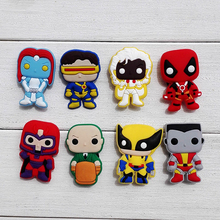 80pcs X-Men Cartoon PVC Shoe Buckles Shoe Charms Fit Croc For Shoes&wristbands with Holes Furniture Accessories Kids Best Gifts